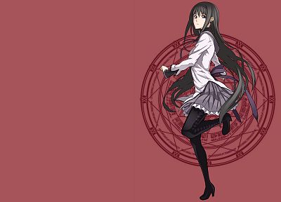 brunettes, tights, Mahou Shoujo Madoka Magica, anime, Akemi Homura, simple background, anime girls - desktop wallpaper