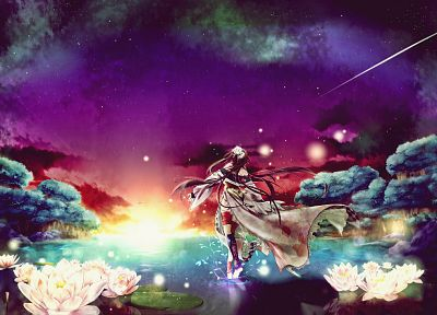 brunettes, multicolor, flowers, stars, forests, long hair, scenic, Photoshop, space - related desktop wallpaper