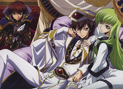 Code Geass, Kururugi Suzaku, green hair, Lamperouge Lelouch, C.C., anime - random desktop wallpaper
