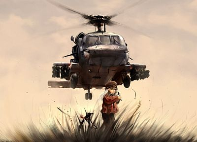 women, black, guns, helicopters, hawk, vehicles - random desktop wallpaper