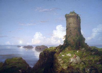 paintings, coast, castles, ruins, Italy, Thomas Cole - random desktop wallpaper