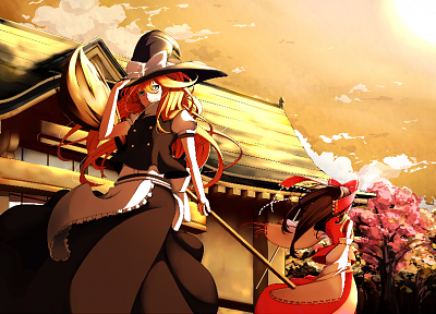 Touhou, Miko, Kirisame Marisa, Hakurei Reimu, magician, detached sleeves, Momiji Oroshi (Artist) - related desktop wallpaper