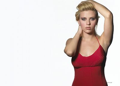 blondes, women, Scarlett Johansson, actress, red dress, simple background, white background - desktop wallpaper