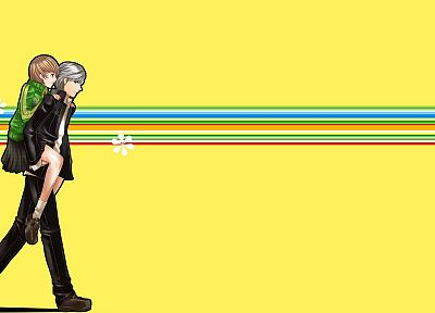 multicolor, Persona series, Persona 4, anime boys, anime girls, Narukami Yuu, Satonaka Chie - desktop wallpaper