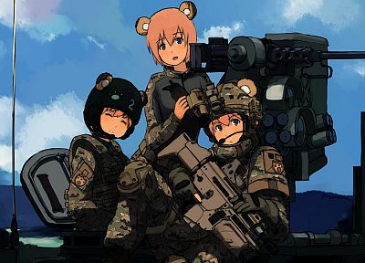 military, blue eyes, weapons, animal ears, assault rifle, anime girls, SCAR-H - random desktop wallpaper
