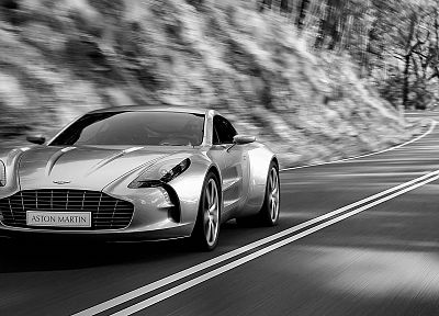 cars, Aston Martin, grayscale, roads, monochrome, vehicles, Aston Martin One-77 - related desktop wallpaper