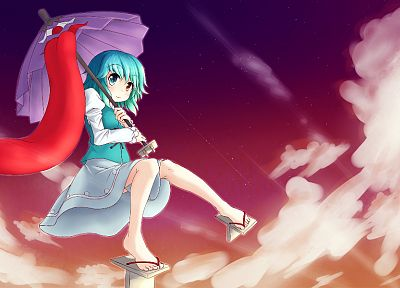 women, Touhou, blue hair, heterochromia, short hair, umbrellas, Tatara Kogasa - related desktop wallpaper