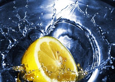 water, fruits, food, lemons - desktop wallpaper