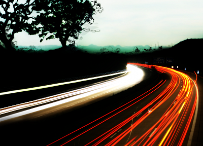 trees, traffic, roads, long exposure, light trails - desktop wallpaper