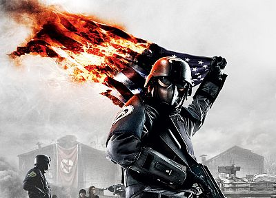 soldiers, video games, fire, helmet, flags, Homefront - random desktop wallpaper