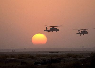 sunset, army, helicopters - desktop wallpaper