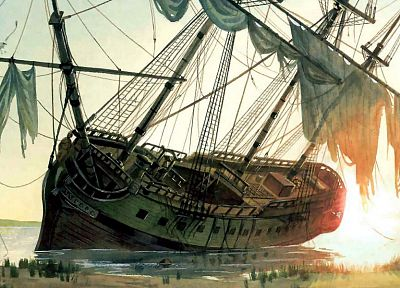 ships, crush, artwork, sail ship - related desktop wallpaper