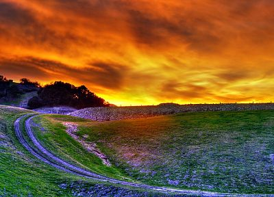 sunset, clouds, landscapes, grass, hills, skyscapes - related desktop wallpaper