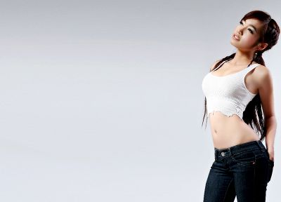 women, jeans, Elly Tran Ha, simple background - random desktop wallpaper