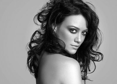 women, Hilary Duff, celebrity, grayscale, monochrome - related desktop wallpaper