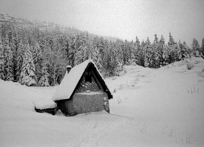 landscapes, nature, winter, houses, monochrome - random desktop wallpaper