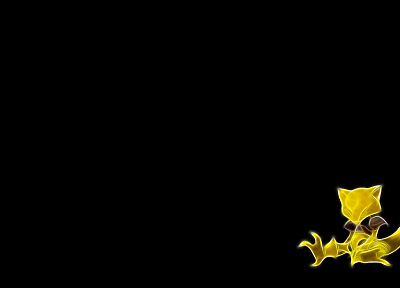 Pokemon, Fractalius, Abra, black background - desktop wallpaper