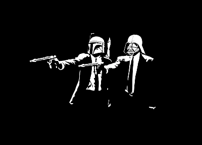 Star Wars, Pulp Fiction, black background - desktop wallpaper