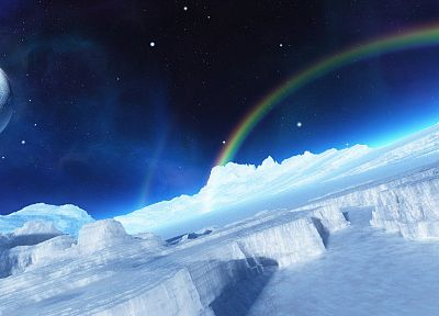 ice, Moon, rainbows - random desktop wallpaper