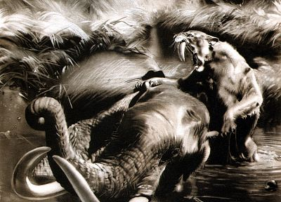 paintings, animals, monochrome, mammoth, saber-tooth, prehistoric, Zdenek Burian - desktop wallpaper