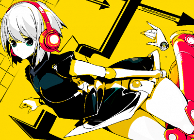 headphones, multicolor, yellow, colored, anime, Beatmania - related desktop wallpaper