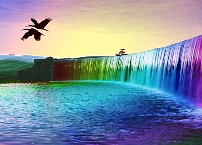 landscapes, multicolor, waterfalls - random desktop wallpaper