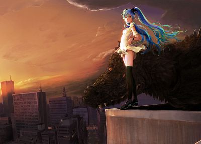 cityscapes, Vocaloid, Hatsune Miku, buildings, Shiika Sadamasa - desktop wallpaper