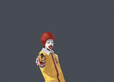 guns, Ronald McDonald, simple background - desktop wallpaper