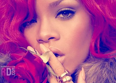women, Rihanna, pink hair, singers, faces - desktop wallpaper