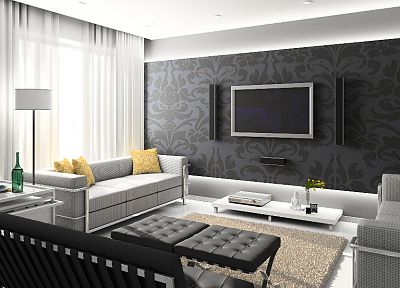 TV, couch, interior, furniture, 3D - desktop wallpaper