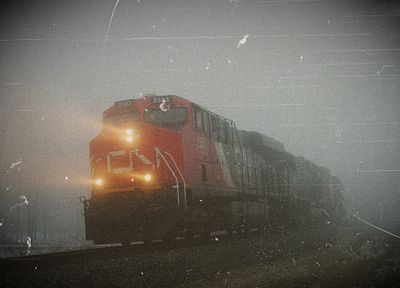 trains, fog, Canada, railroad tracks, vehicles, locomotives, Canadian National Railway - random desktop wallpaper