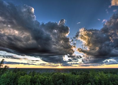 sunrise, clouds, landscapes, forests, skyscapes - related desktop wallpaper