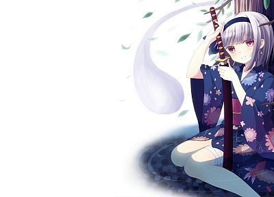 water, video games, Touhou, trees, leaves, katana, weapons, kimono, Konpaku Youmu, red eyes, short hair, blush, sitting, white hair, bandages, Japanese clothes, simple background, hair band, swords, white background, hair ornaments - related desktop wallpaper