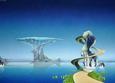 water, music, paths, spiral, Roger Dean, 1973, cover art, 70's - desktop wallpaper