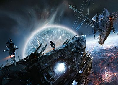 outer space, futuristic, surreal, spaceships, battles, artwork, vehicles, Lost Empire, Eve - related desktop wallpaper