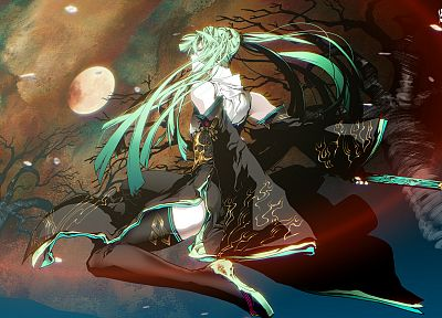 trees, Vocaloid, dress, Hatsune Miku, Moon, long hair, weapons, green eyes, thigh highs, green hair, twintails, black dress, flower petals, Full Moon, anime girls, detached sleeves, swords, hair ornaments, bare shoulders, wide sleeves - related desktop wallpaper