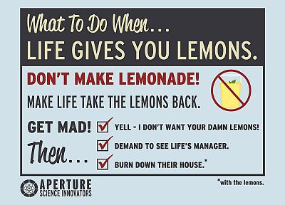 Valve Corporation, Portal, funny, Aperture Laboratories, Portal 2, Cave Johnson, lemons - related desktop wallpaper