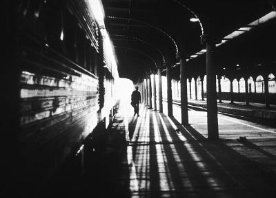 train stations, grayscale, monochrome - random desktop wallpaper