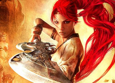 women, video games, redheads, Heavenly Sword, fantasy art, Nariko, swords - random desktop wallpaper