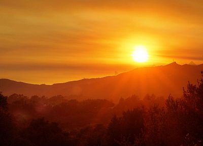 sunset, mountains, landscapes, Sun - related desktop wallpaper