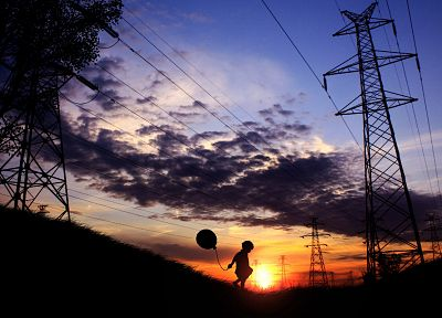 sunset, silhouettes, lonely, power lines, balloons, electricity pole, playing, children - desktop wallpaper