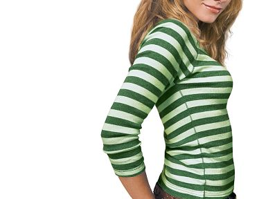 women, Kristen Bell, actress, celebrity, white background, striped clothing - desktop wallpaper