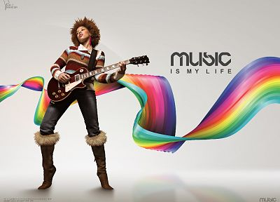 music, rainbows - desktop wallpaper