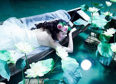 water, dress, boats, Asians, vehicles, lily pads, water lilies - desktop wallpaper