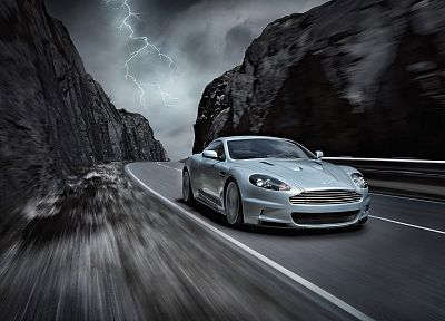 mountains, cars, Aston Martin, grey, roads, vehicles, Aston Martin DBS - related desktop wallpaper