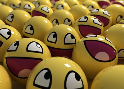 3D view, balls, smiley face, Awesome Face - related desktop wallpaper