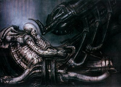 HR Giger, science fiction, Alien, Space Jockey - random desktop wallpaper