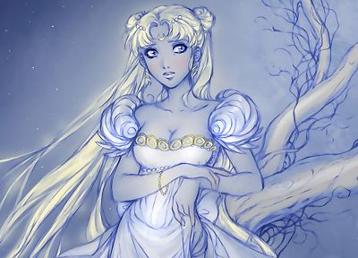 Sailor Moon, white dress, Bishoujo Senshi Sailor Moon, Princess Serenity - random desktop wallpaper