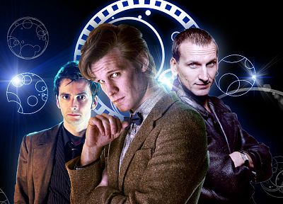David Tennant, Matt Smith, Eleventh Doctor, Doctor Who, Christopher Eccleston, Tenth Doctor, Ninth Doctor - desktop wallpaper