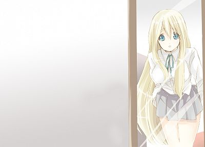 blondes, K-ON!, mirrors, blue eyes, skirts, Kotobuki Tsumugi, open mouth, anime - random desktop wallpaper